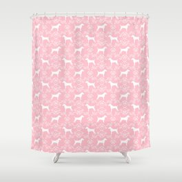Jack Russell Terrier floral silhouette dog breed pet pattern silhouettes dog gifts pink Shower Curtain