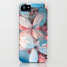 Dried Blue Pink Hydrangea iPhone Case