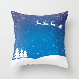 Santa's sleigh ride on a blue background Throw Pillow