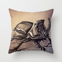 beetle Throw Pillows featuring Beetle by Werk of Art