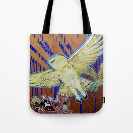 Terror - Pale Yellow Snowy Owls and Famous cartoon Mice Tote Bag