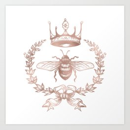 Queen Bee in Rose Gold Pink Art Print