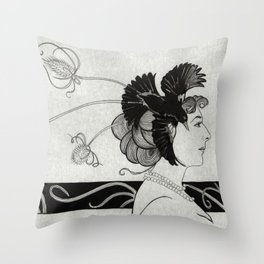 Passerine (Mata Hari with teasel) Throw Pillow