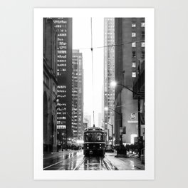 Memories of a streetcar, street photography, urban, art, Toronto, cityscape, black white, print Art Print