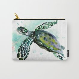 Sea Turtle, underwater scene,  green turquoise beach house design Carry-All Pouch