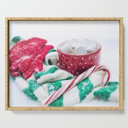 Hot Chocolate Green Scarf and Candy Cane Serving Tray