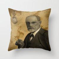 freud Throw Pillows featuring Sigmund Freud by susana