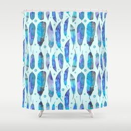 Feathers / Harmony in Blue Shower Curtain