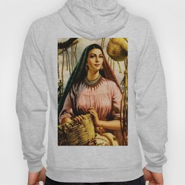 Jesus Helguera Painting of a Mexican Fisher Girl With Basket Hoody