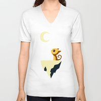 vector V-neck T-shirts featuring Moon Cat by Freeminds
