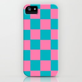 Pink & Turquoise Chex 2 iPhone Case