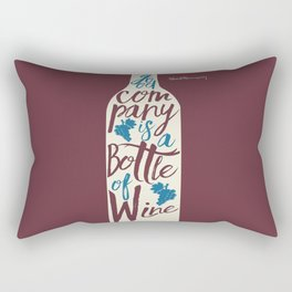 Hemingway quote on Wine and Good Company, fun inspiration & motivation, handwritten typography Rectangular Pillow