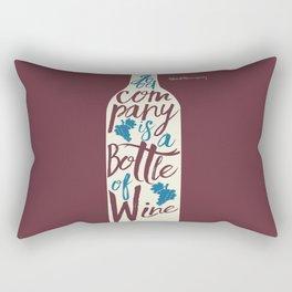 Hemingway quote on Wine and Good Company, fun inspiration & motivation, handwritten typography Rectangular Pillow