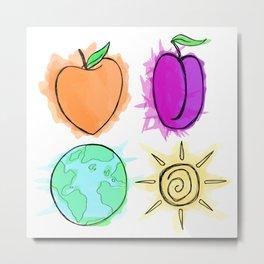 Peach, Plum, Earth, Sun Metal Print