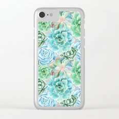 Mint Green Succulents Clear iPhone Case