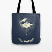 sky Tote Bags featuring MOON CLIMBING by los tomatos
