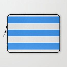 Brilliant azure - solid color - white stripes pattern Laptop Sleeve