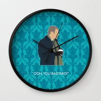 greg guillemin Wall Clocks featuring The Empty Hearse - Greg Lestrade by MacGuffin Designs