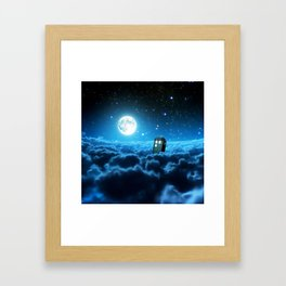Tardis Cloud And Moon Framed Art Print