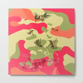 Charming Camo: Hummingbird Camouflage Metal Print