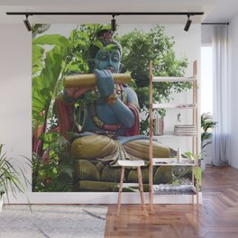 Blue Balinese Buddhist Statue in Garden Wall Mural