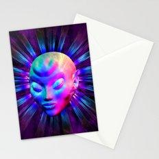 Alien Meditation on Rainbow Colors Stationery Cards