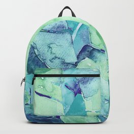 Banana Tree Leaves   Tropical  BLUE Watercolor Backpack