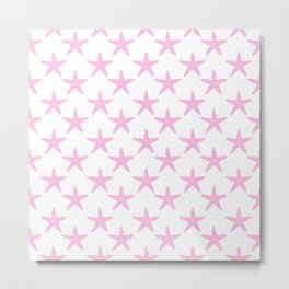 Starfishes (Pink & White Pattern) Metal Print