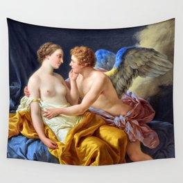 Cupid and Psyche, Love Conquers All portrait painting by Louis-Jean-François Lagrenée Wall Tapestry