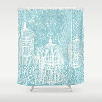 aelwen Shower Curtains featuring Hang in there.  by Elena O'Neill
