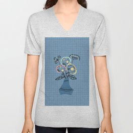 Quilling, flowers in vase Unisex V-Neck
