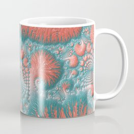 Abstract Coral Reef Living Coral Pastel Teal Blue Texture Spiral Swirl Pattern Fractal Fine Art Coffee Mug