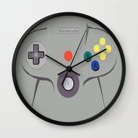 nintendo Wall Clocks featuring Nintendo 64 by Bradley Bailey