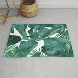 Tropical Summer Jungle Leaves Dream #2 #tropical #decor #art #society6 Rug