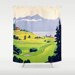 Swiss vintage travel poster Golf Lausanne Switzerland Shower Curtain