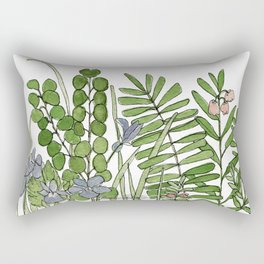 Watercolor Woodland Ferns and Violets Delicate Detailed Nature Art Rectangular Pillow