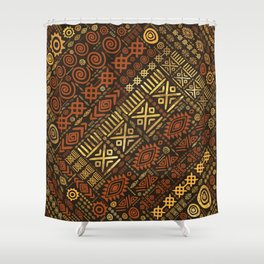 Ethnic African Pattern- browns and golds #5 Shower Curtain
