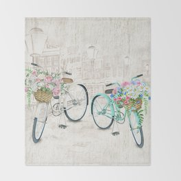 Vintage Bicycles With a City Background Throw Blanket