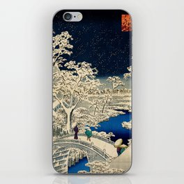 Ukiyo-e, Ando Hiroshige, Yuhi Hill and the Drum Bridge at Meguro iPhone Skin