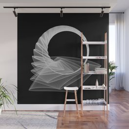 Black White Minimal Geometry Graphic Harmonic Abstract Line Wall Mural