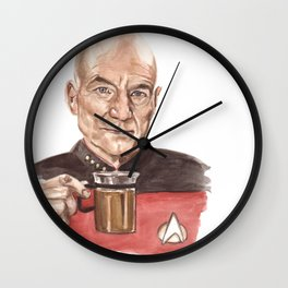 Captain Picard - Tea Earl Grey Hot Funny Illustration Wall Clock