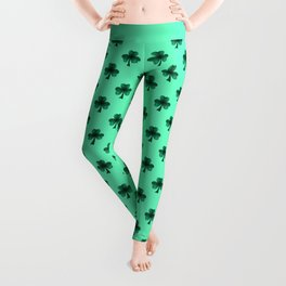 Emerald green shamrock clover sparkles Leggings