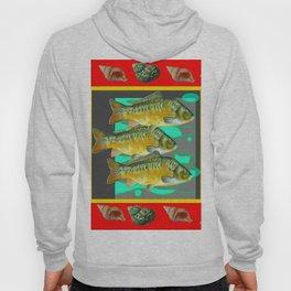 SEA SHELLS YELLOW-RED FISH AQUATIC ART VIGNETTE Hoody
