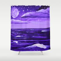 moonrise Shower Curtains featuring Purple Moonrise by Aries Art