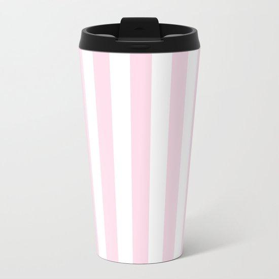 Pink and White stripes, vertical Metal Travel Mug