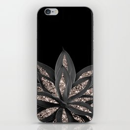Gray Black Agave with Rose Gold Glitter #1 #shiny #tropical #decor #art #society6 iPhone Skin
