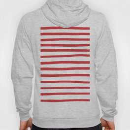 Red hand drawn stripes Hoody