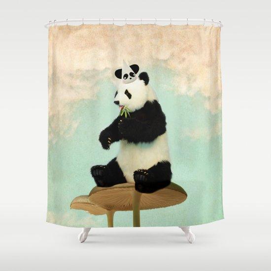 Wild Mushroom Panda Party Shower Curtain