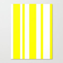 Mixed Vertical Stripes - White and Yellow Canvas Print