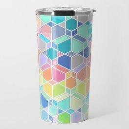 Rainbow Cubes & Diamonds Travel Mug
